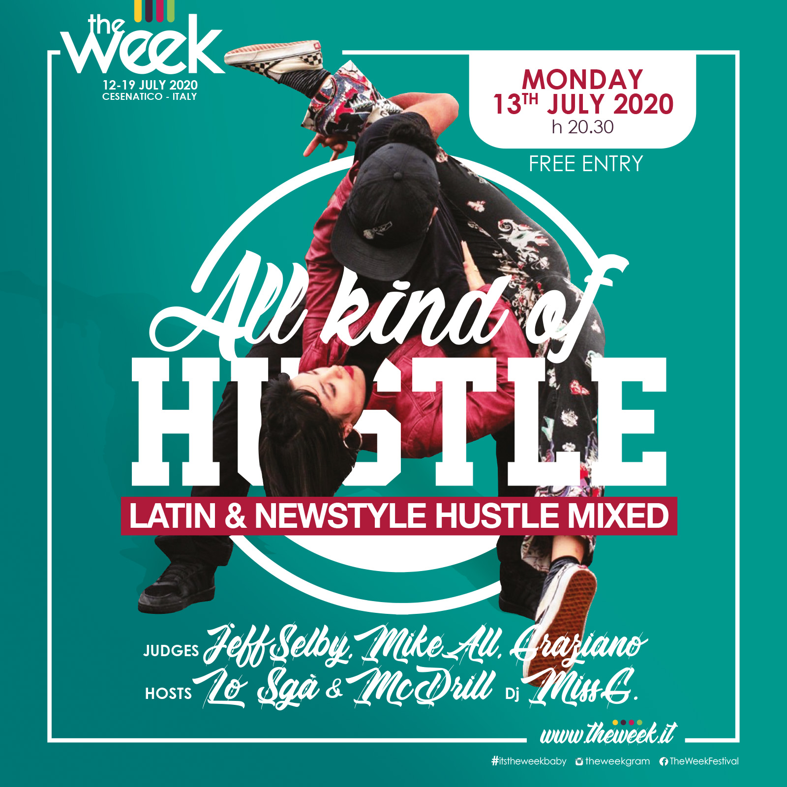 All Kind Of Hustle NSH Latin NewStyle Hustle The Week The WeeKidz Street Dance Summer Camp Cesenatico Italy Workshop Stage Hip Hop Festival